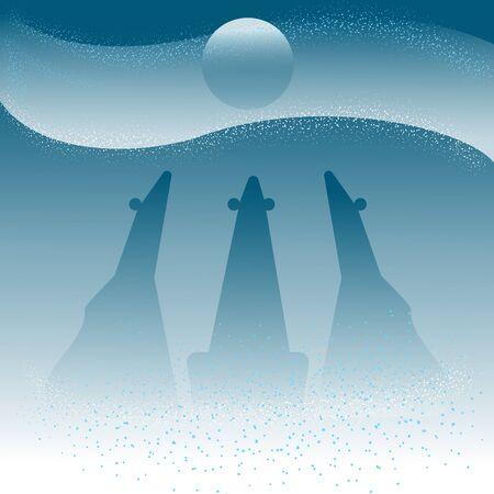 vector illustration art polar bears in Arctic snow winter moon night, doublemoon and bear. hand draw vector illustration.