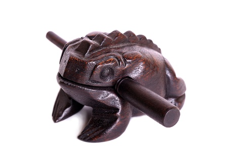 fengshui: A wooden feng-shui frog isolated