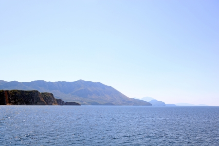 hazy: A sea landscape with hazy mountains, Montenegro.