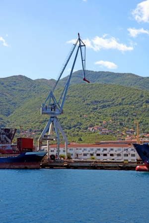 A floating crane and dry cargo ships on water, with hills and blue sky on the background.