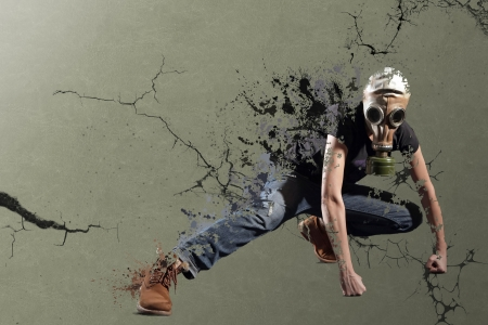 defense facilities: A stylized image on Biological Hazards  A young girl in a gas mask standing in the expressive pose  Stock Photo