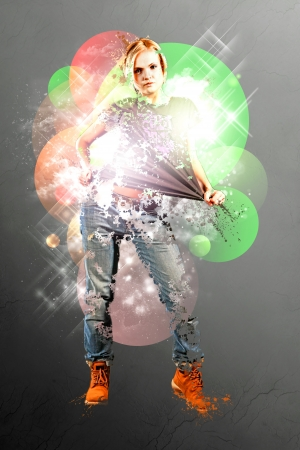 A futuristic style picture of a dancing girl  Stock Photo - 13991040