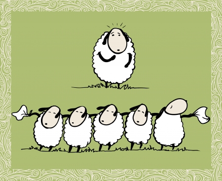 sheeps:  Dancing Sheeps  Illustration