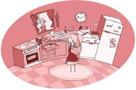 Monochrome kitchen illustration Stock Vector - 19839633