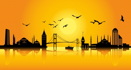 tower bridge: Istanbul Silhoutte