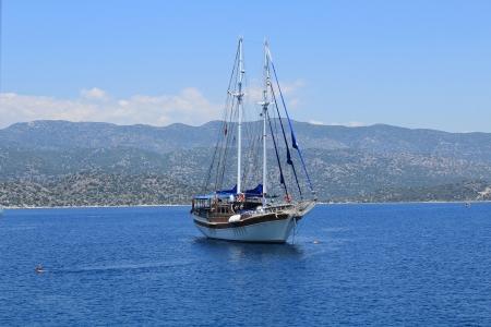 Gullet sailing on Kekova, Antalya Stock Photo