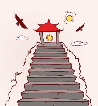 rin gong: Far East Temple  Illustration