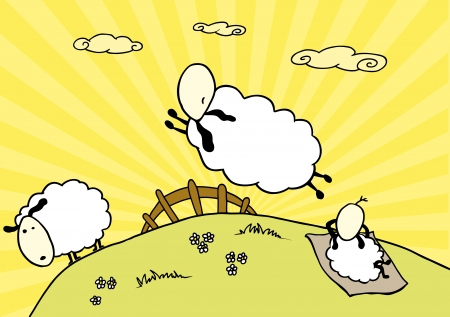 tranquil scene on urban scene: Counting Sheeps Illustration