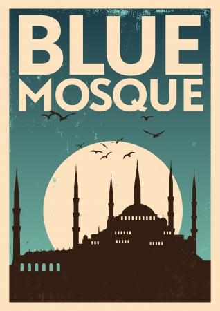 复古蓝色清真寺海报