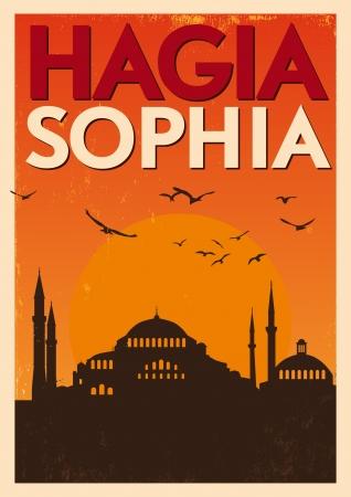 hagia sophia: Vintage Hagia Sophia Poster Illustration