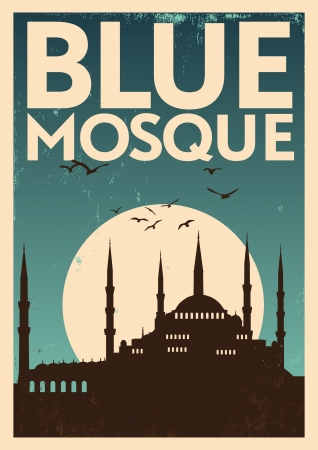 istanbul night: Vintage Blue Mosque Poster Illustration