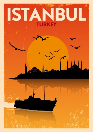 Vintage Istanbul Silhouette Poster