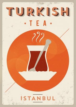 Vintage Turkish Tea Poster Stock fotó - 20952232