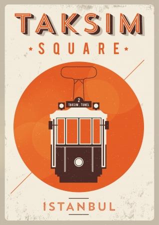 turkey istanbul: Vintage Taksim Poster