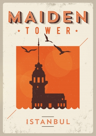 Vintage Maiden Tower Istanbul Poster Stock fotó - 20952235