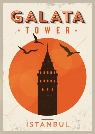 turkey istanbul: Vintage Galata Tower Istanbul Poster