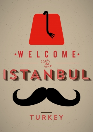 moustaches: Vintage Istanbul Welcome Poster