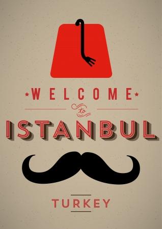 Vintage Poster Istanbul Welkom Stock Illustratie