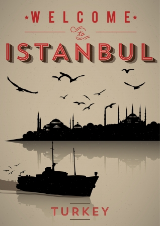 Vintage Istanbul Poster Stock fotó - 20952239