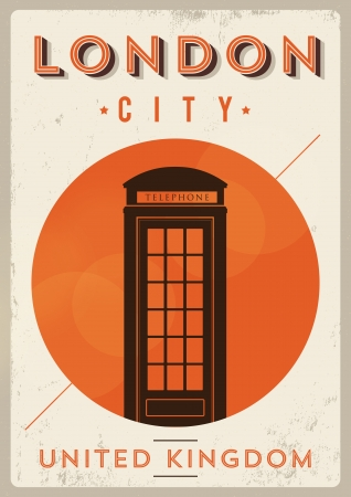 Vintage Telephone Box - London Poster Stock Vector - 21357874