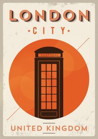Vintage Telephone Box - London Poster Stock Vector - 21357874