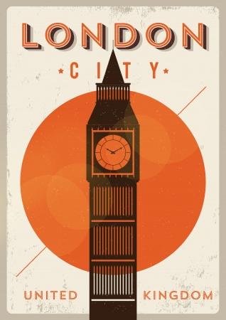 Vintage Big Ben London Poster Illusztráció