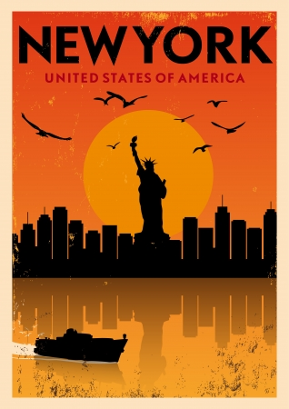 new york skyline: Vintage New York Poster