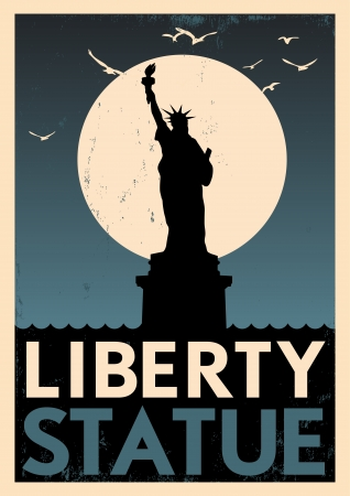 new york night: Vintage Liberty Statue Poster