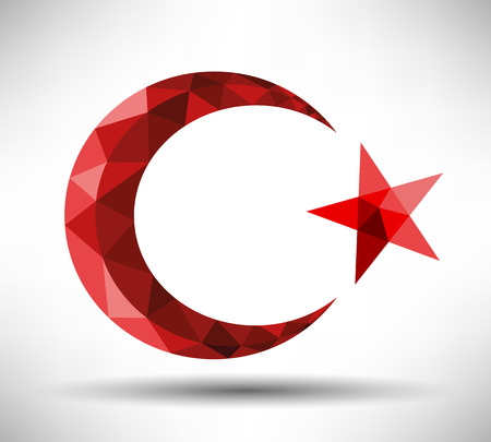 Modern Crescent and Star Design  Vector