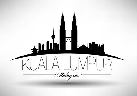 Kuala Lumpur City Skyline Ontwerp Stock Illustratie