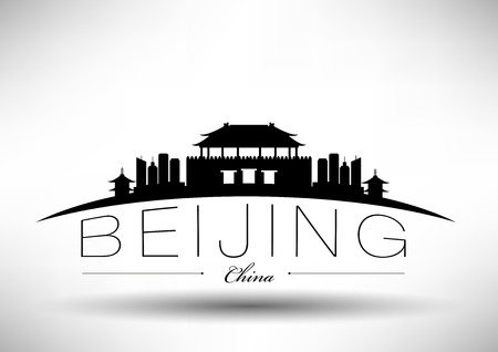 historic building: Beijing City Skyline Design  Illustration
