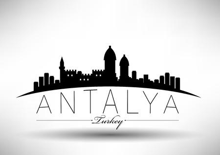 Antalya Stad Ontwerp van de Horizon Stock Illustratie