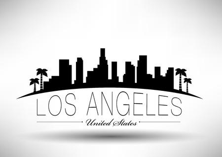 ロサンゼルス市のスカイラインのデザイン  イラスト・ベクター素材
