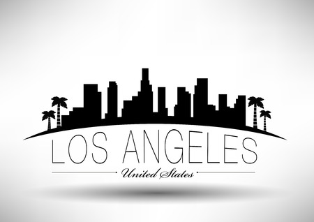 Los Angeles City Skyline Ontwerp Stock Illustratie