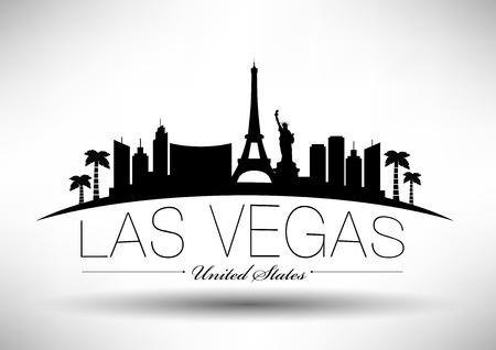 silhouette america: Las Vegas City Skyline Design