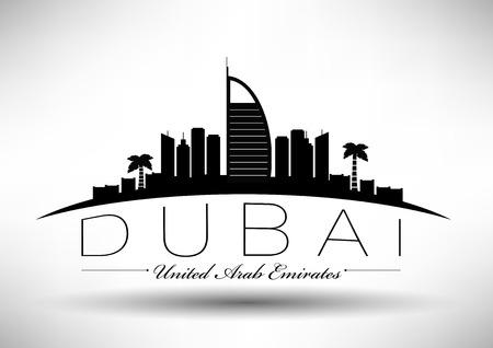 Dubai City Skyline Ontwerp Stock Illustratie
