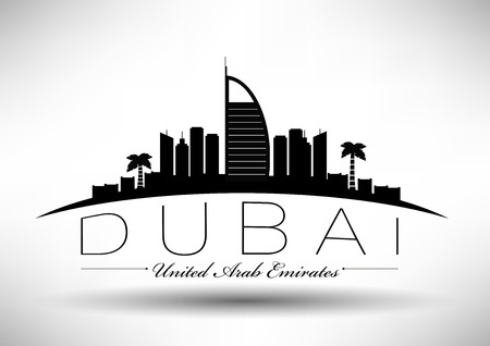 Dubai City Skyline Design  Illustration