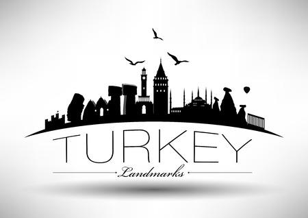 ataturk: Turkey Landmarks Design Illustration