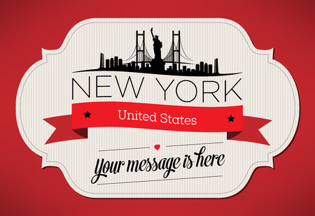 New York City Greeting Card Design Template - Illustration Vector