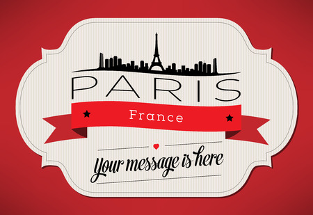 Paris City Greeting Card Design Template - Illustration Vector