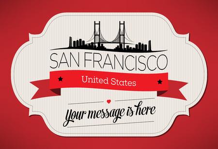 샌프란시스코 시티 인사말 카드 디자인 서식 파일 - 그림 일러스트