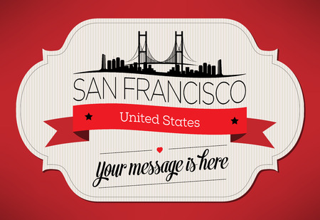 San Francisco City Greeting Card Design Template - Illustration Illusztráció