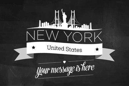 new york skyline: New York City Greeting Card Design Template - Illustration