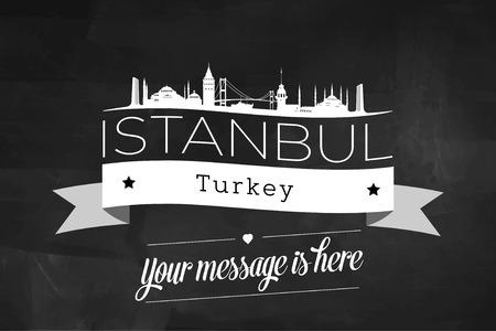 Istanbul City Greeting Card Design Template - Illustration Illusztráció