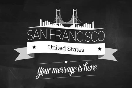 San Francisco City Greeting Card Design Template - Illustration