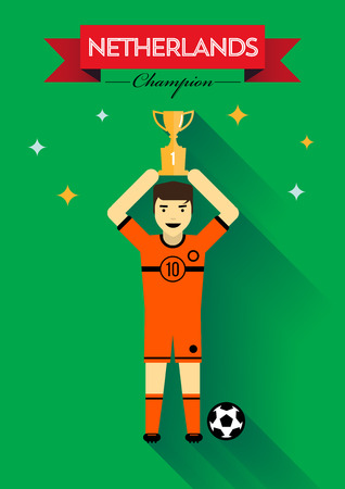 Champion Netherlands Team Player Holding Cup Vector