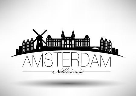 moinhos de vento: Amsterdam Skyline com tipografia da Ilustração