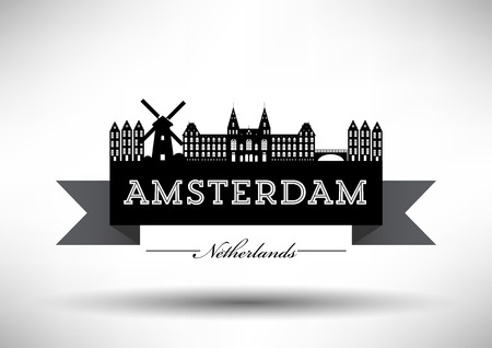 Amsterdam Skyline with Typography Design