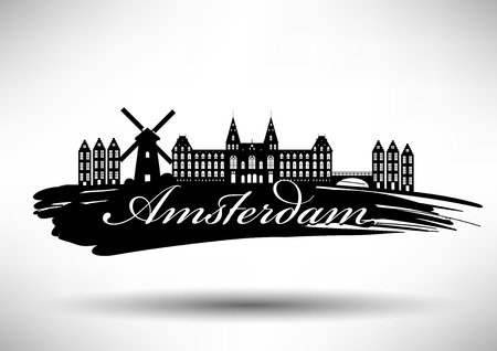 アムステルダムのスカイラインのタイポグラフィ デザイン  イラスト・ベクター素材