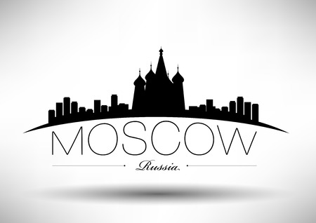 red square moscow: Moscow Skyline with Typography Design Illustration